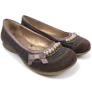 JELLYPOP Delpha Brown Pearls Bling Flats Shoes 6